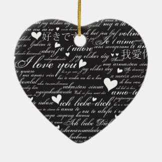 Words of Love Whimsical Designer Art Gift B & W Ceramic Ornament