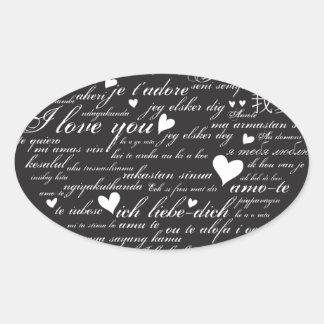 Words of Love Whimsical Designer Art Gift B & W Oval Sticker