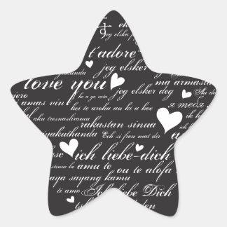 Words of Love Whimsical Designer Art Gift B & W Star Sticker