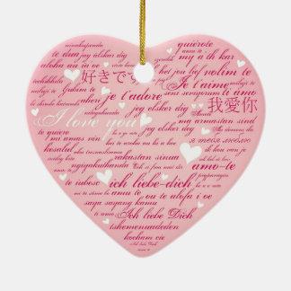 Words of Love Whimsical Designer Art Gift Pink Ceramic Ornament