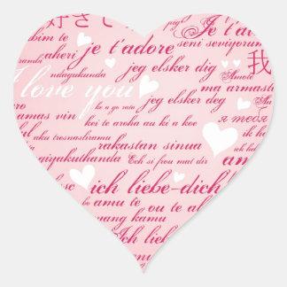 Words of Love Whimsical Designer Art Gift Pink Heart Sticker