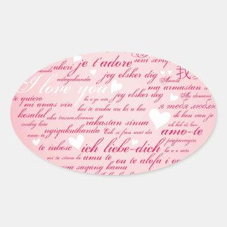 Words of Love Whimsical Designer Art Gift Pink Oval Sticker