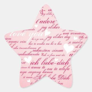 Words of Love Whimsical Designer Art Gift Pink Star Sticker