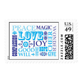 Words of the Season Blue Postage Stamp
