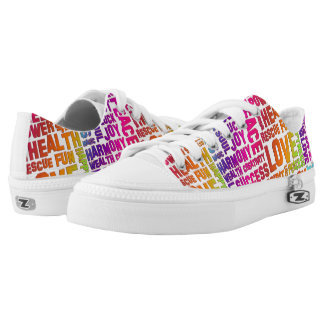 Words Of The Spirit Way neon colored + your backg. Printed Shoes