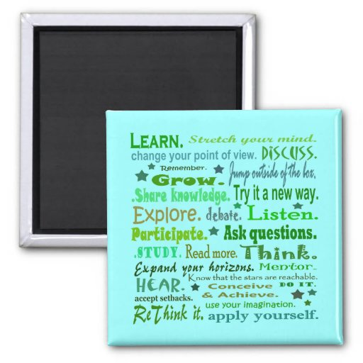 Words of wisdom. Learning collage fridge magnet
