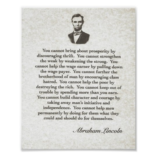 Persistence Motivational Quotes: Words Of Wisdom On Parchment=Abraham Lincoln Poster