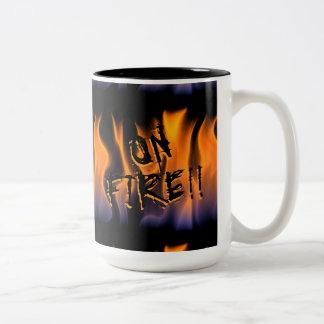 Words 'On Fire' over flames Two-Tone Coffee Mug