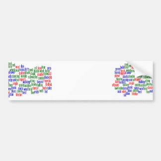 Words related to playing bass, red blue green car bumper sticker