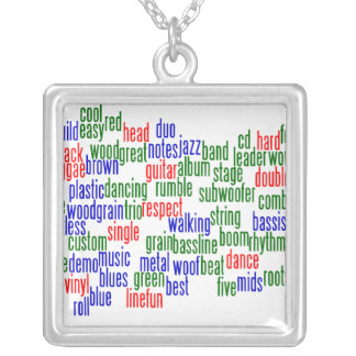 Words related to playing bass, red blue green necklace