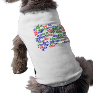 Words related to playing bass, red blue green dog tee