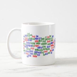 Words related to playing bass, red blue green mug