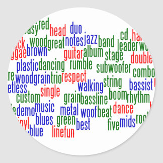 Words related to playing bass, red blue green classic round sticker