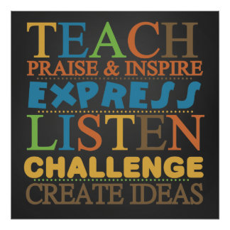 Words To Live By Chalkboard Teacher Poster