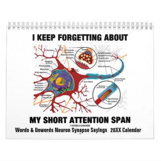 Words & Unwords Neuron Synapse Sayings 20XX Calendar
