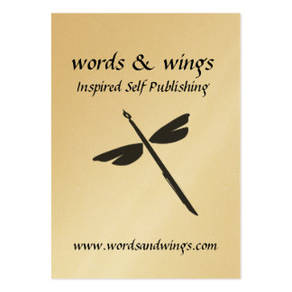Words & Wings Abstract Dragonfly and Pen Business  Large Business Card