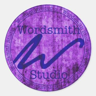 Wordsmith Studio Purlple/Navy Classic Round Sticker