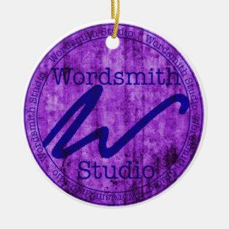 Wordsmith Studio Purlple/Navy Double-Sided Ceramic Round Christmas Ornament
