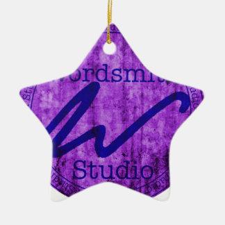 Wordsmith Studio Purlple/Navy Double-Sided Star Ceramic Christmas Ornament