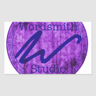 Wordsmith Studio Purlple/Navy Rectangular Sticker