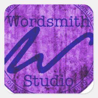 Wordsmith Studio Purlple/Navy Square Sticker