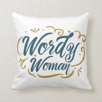 Wordy Woman Throw Pillow