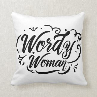 Wordy Woman Throw Pillow (black and white)