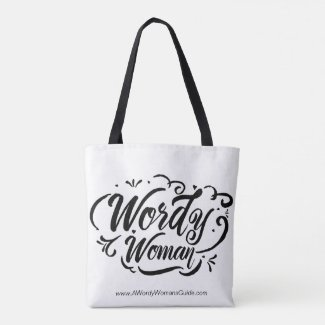 Wordy Woman Tote (black and white)