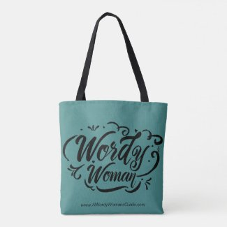 Wordy Woman Tote (teal)