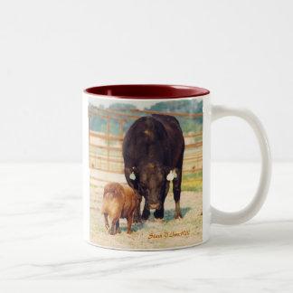 Work A Stockdog Australian Shepherd with Bull Two-Tone Coffee Mug