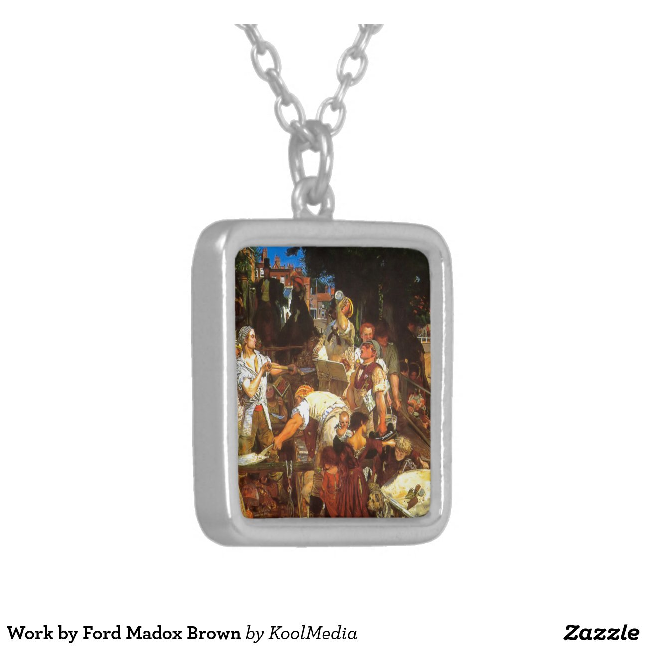 Madox Brown Work Work By Ford Madox Brown Square Pendant Necklace