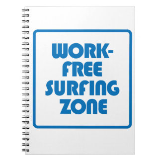 Work Free Surfing Zone Spiral Notebook
