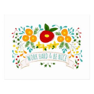 Work Hard, Be Nice Postcard