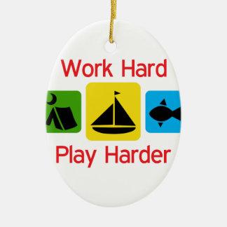 Work Hard Ceramic Ornament
