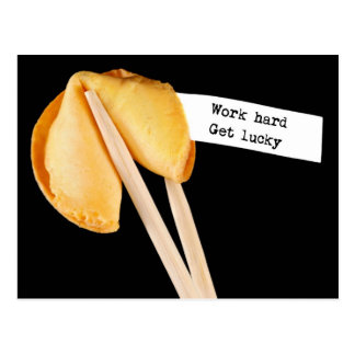 Work Hard Get Lucky Fortune Cookie Postcard