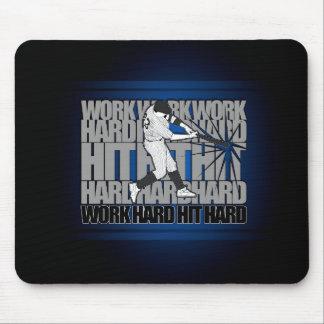 Work Hard Hit Hard - Baseball Mouse Pad