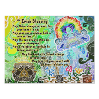 Work Hard Irish Blessing ~Psychedelic Flash~ Poster