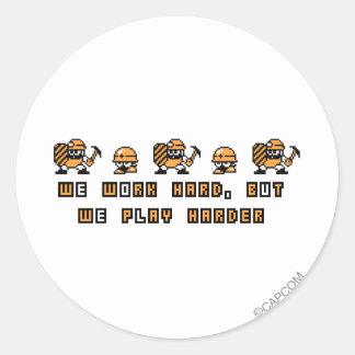Work Hard, Play Hard Classic Round Sticker