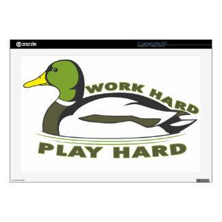 Work Hard Play Hard Mallard Duck Laptop Skins