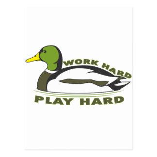 Work Hard Play Hard Mallard Duck Postcard