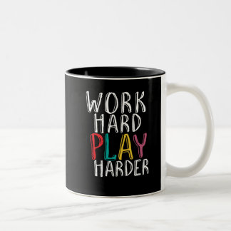 Work Hard Play Harder Gaming Geek Nerd Video Gamer Two-Tone Coffee Mug