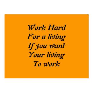 Work hard postcard