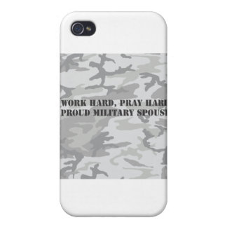 work hard pray hard proud military spouse iPhone 4/4S case