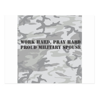 work hard pray hard proud military spouse post cards