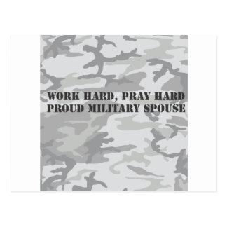 work hard, pray hard. proud military spouse postcard