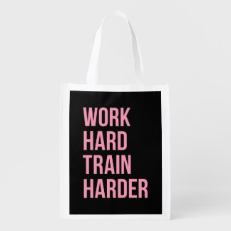 Work Hard Train Fitness Motivational Quote Pink Bl Grocery Bag