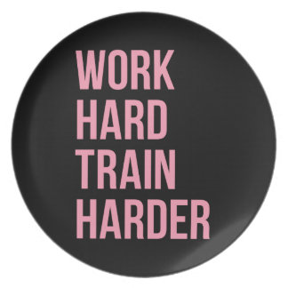 Work Hard Train Fitness Motivational Quote Pink Bl Party Plate