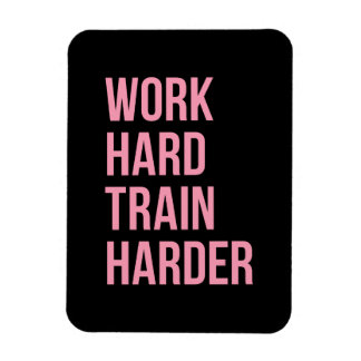 Work Hard Train Fitness Motivational Quote Pink Bl Rectangular Magnets