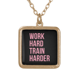 Work Hard Train Fitness Motivational Quote Pink Bl Square Pendant Necklace