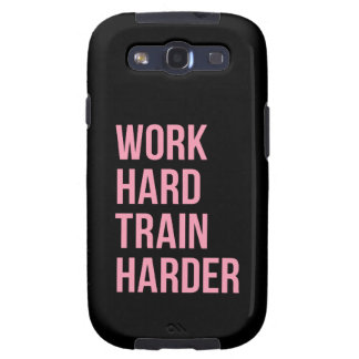 Work Hard Train Harder Fitness Quote Black Pink Galaxy S3 Cases